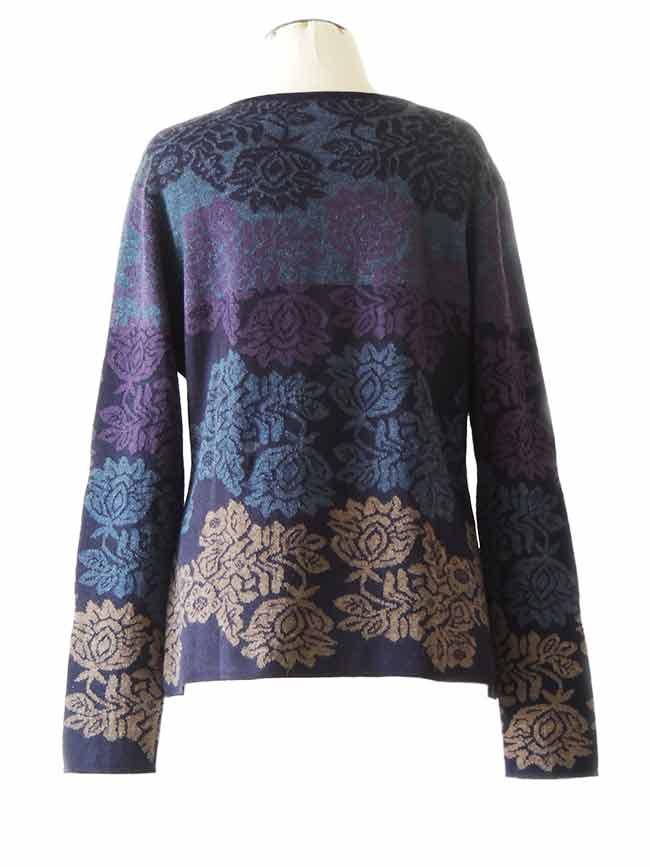 PFL knitwear Vest Georgina baby alpaca blauw-multi