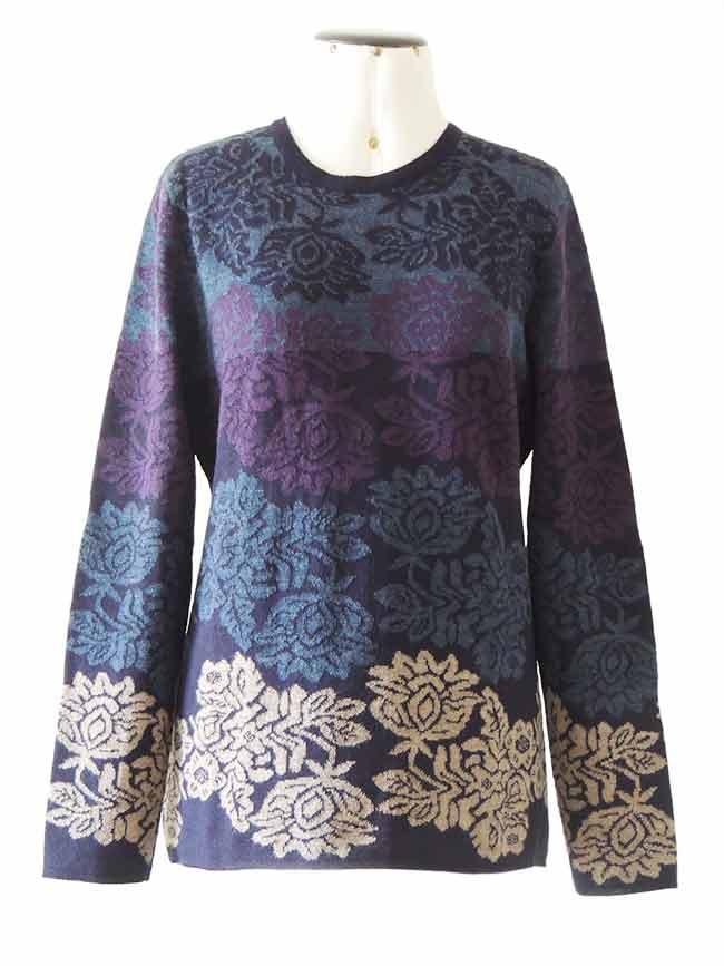 PFL knitwear Trui Georgina, blauw-multi, baby alpaca