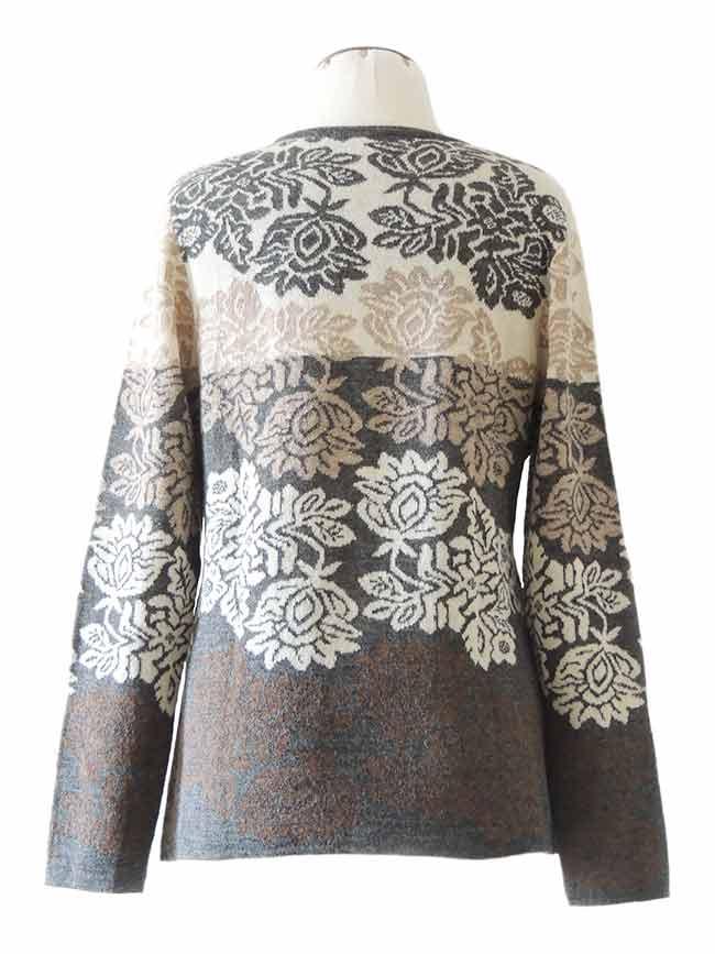 PFL knitwear Trui Georgina, licht grijs multi, baby alpaca