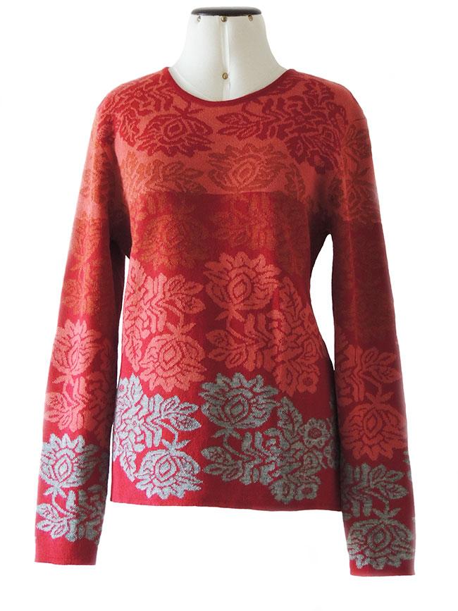 PFL knitwear Trui Georgina, rood-grijs, baby alpaca