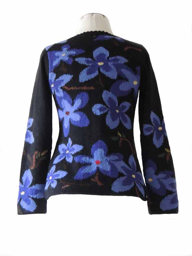 PFL knitwear Vest intarsia alpaca zwart bloemen