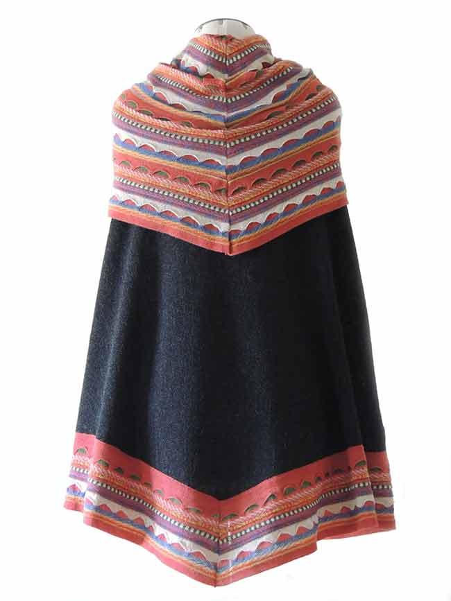 PFL knitwear Poncho  baby alpaca donker grijs-multi