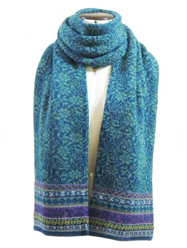 PFL knitwear Sjaal Susan turquoise-blauw, baby alpaca.