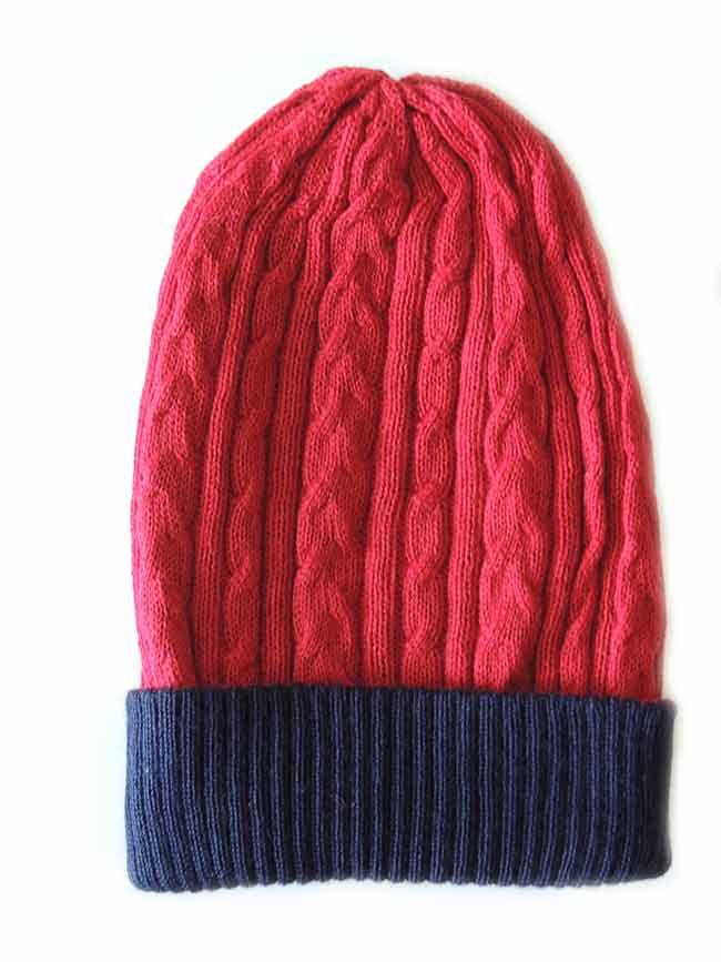 PFL knitwear Muts omkeerbaar rood blauw