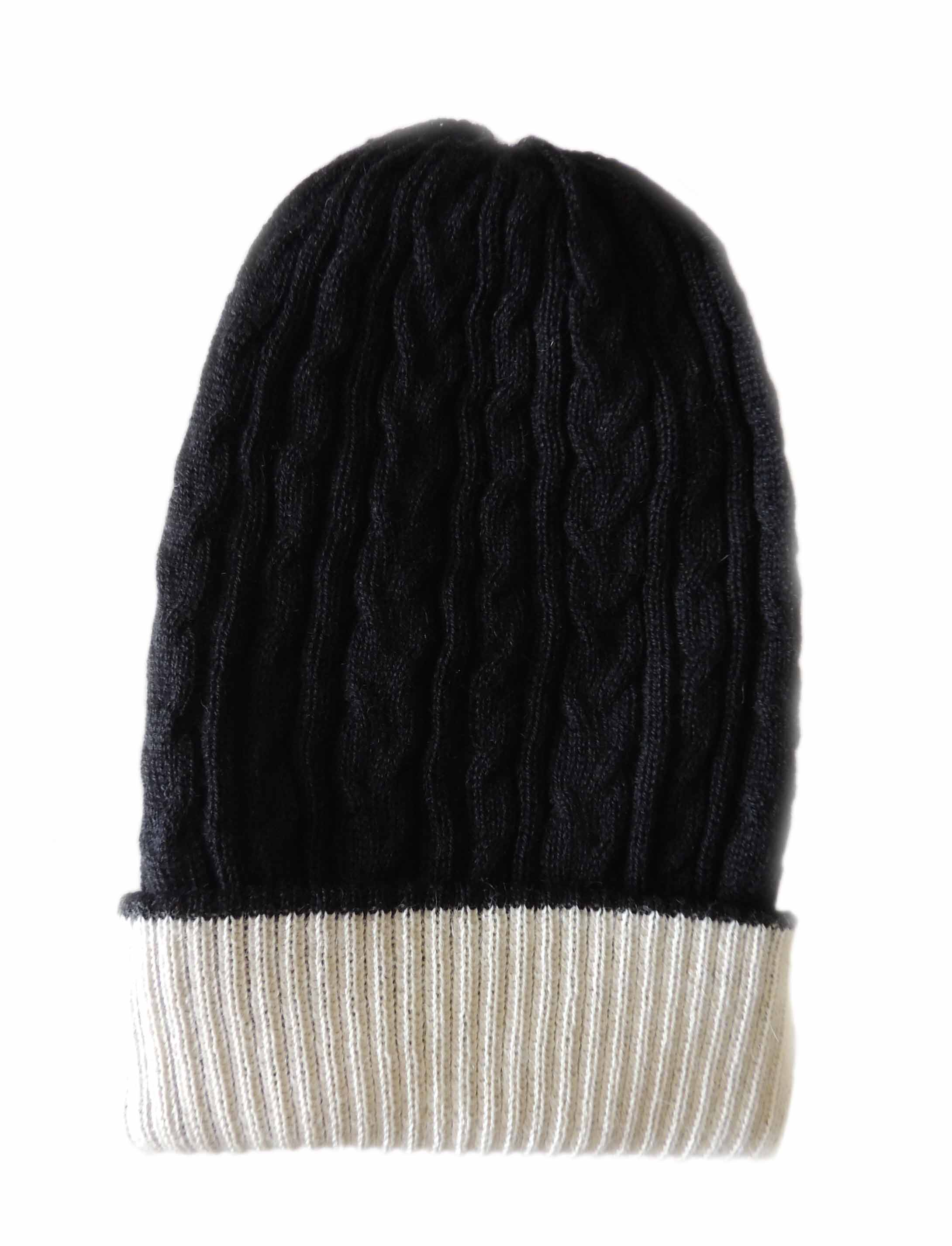 PFL knitwear Muts omkeerbaar creme  zwart