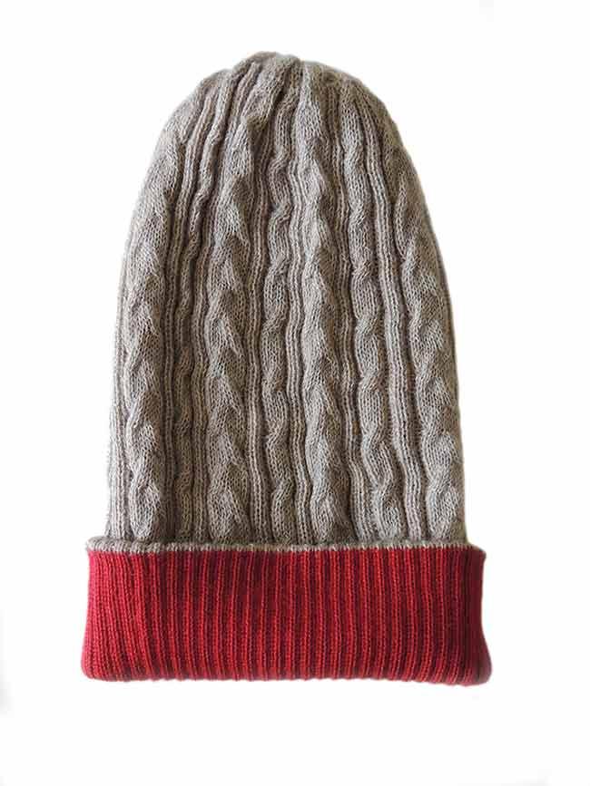 PFL knitwear Muts omkeerbaar rood beige