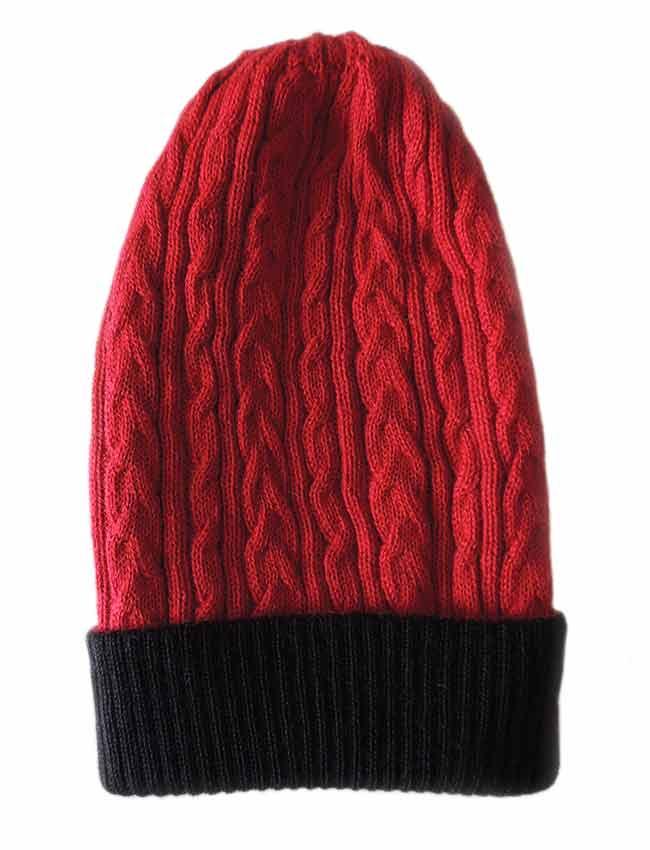 PFL knitwear Muts omkeerbaar rood  zwart