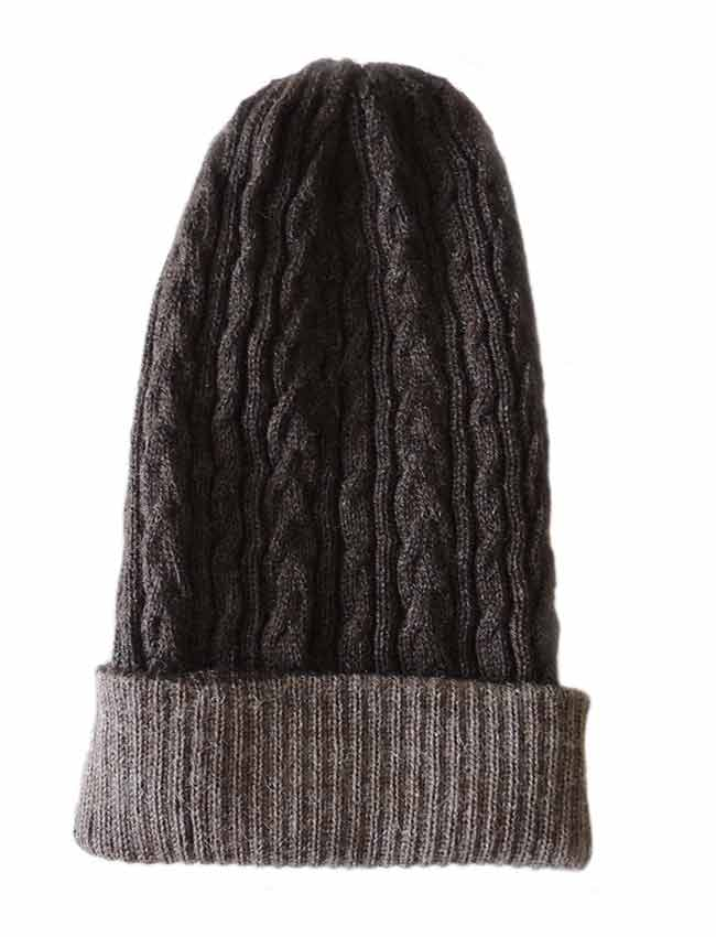 PFL knitwear Muts omkeerbaar taupe zwart