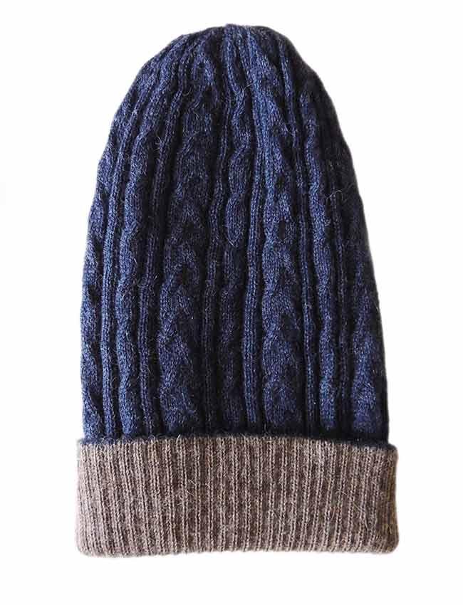 PFL knitwear Muts omkeerbaar taupe blauw