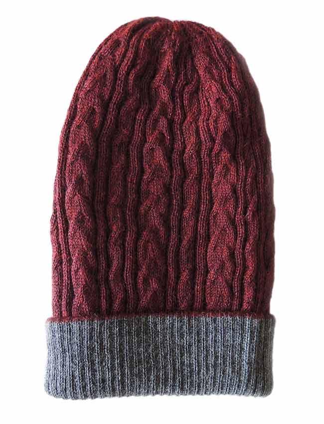 PFL knitwear Muts omkeerbaar bordeaux grijs