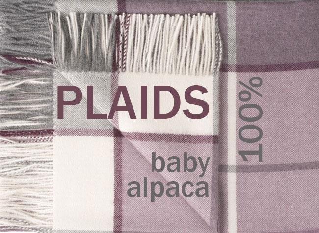 Comfortable warm, plaids in 100% Baby Alpaca