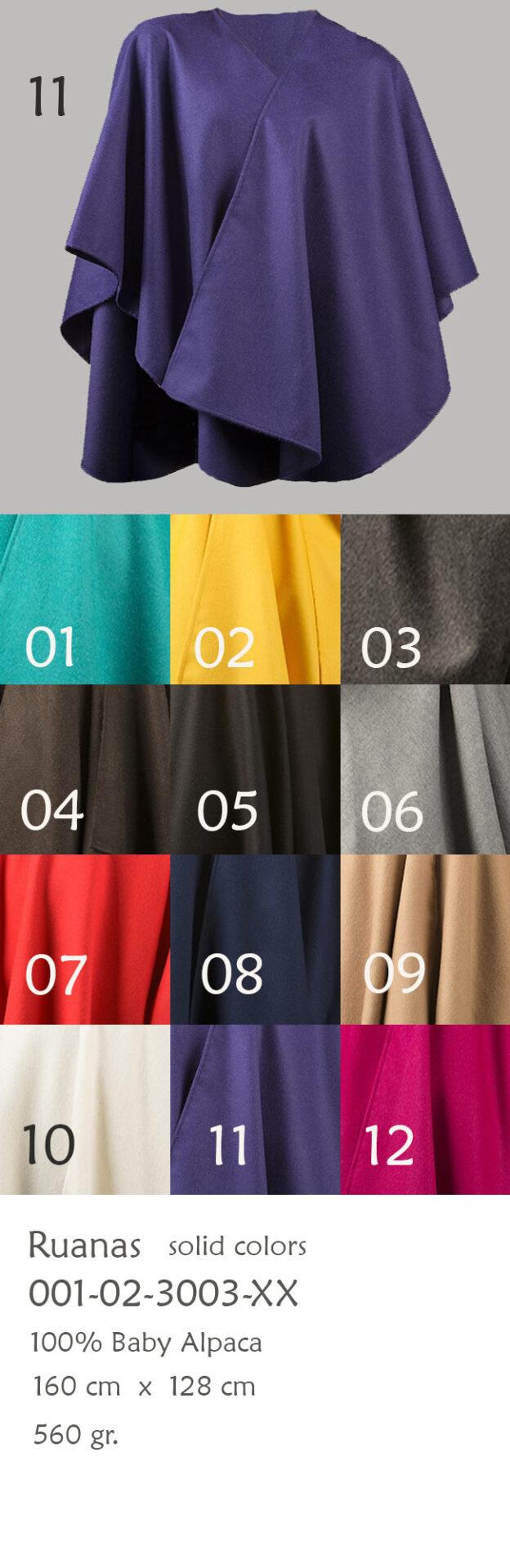 001-02-3003 Ruana poncho, omslagdoeken 100 % Baby Alpaca, in effen kleur