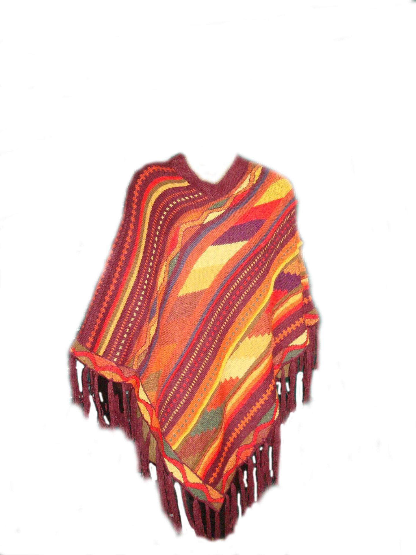 Gebreide poncho in bonte kleuren met ronde hals en franjes