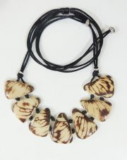 necklace, Taqua white-brown