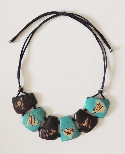 necklace Taqua dark brown-turquoise