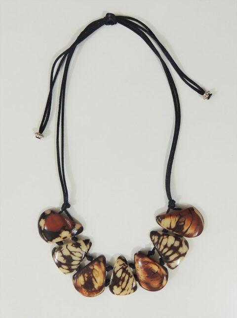 necklace, Taqua brown-white