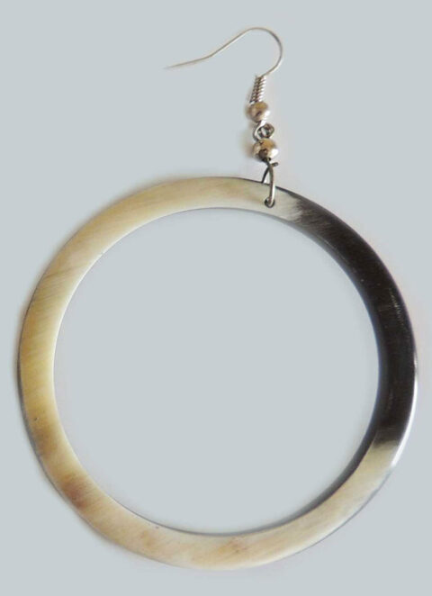 PFL, round earrings large made from polished bull horn