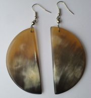 PFL Earrings, crescent figure made of bull horn.