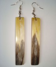 PFL Earrings, rectangular figure made from bull horn