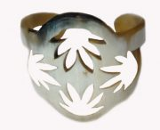 PFL bracelet with leaf design in polished bull horn