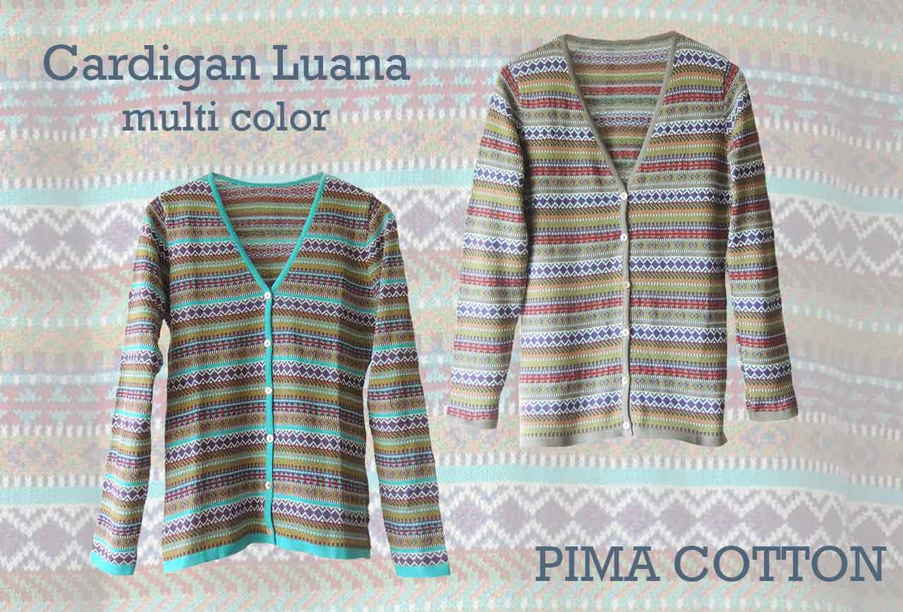 Womenswear, PFL premium cardigans Luana multicolor manufactured in 100% pima cotton