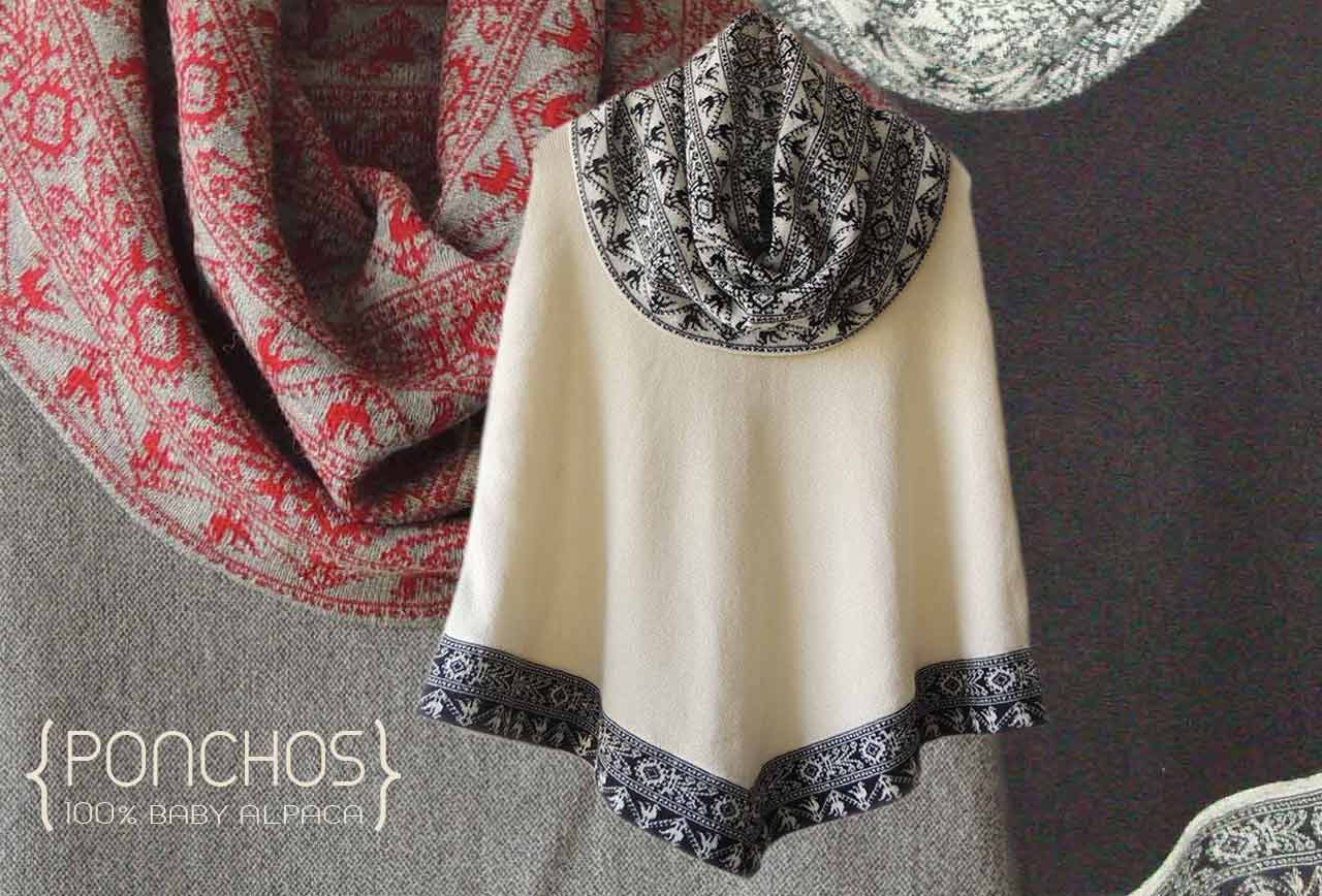 Ponchos with large turtleneck in baby alpaca..