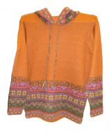 Hooded sweater in alpaca P43 Muru orange.