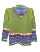 Hooded sweater in alpaca P43 Muru Green.