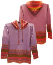Hooded sweater in alpaca P43 Muru purple.