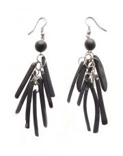 PFL Earrings, multi stripe black made from Taqua