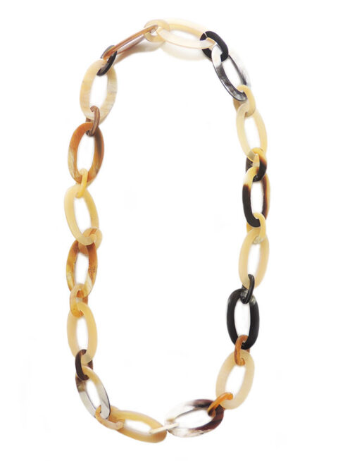 PFL necklace with large oval and little oval links made of polished bulls horn.