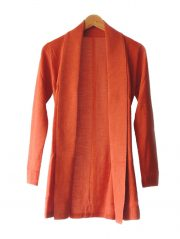 Classic fine knitted loose fit cardigan in luxurious ultra soft baby alpaca, orange