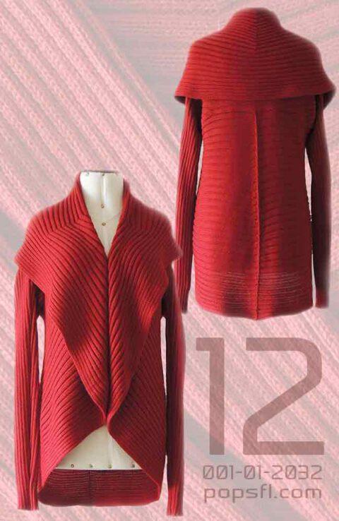 PFL, lFull knitted open cardigan model Keyla in a soft alpaca blend, red