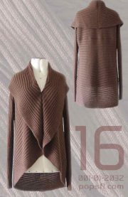 PFL Full knitted open cardigan model Keyla in a soft alpaca blend, brown