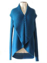 PFL Full knitted open cardigan model Keyla, in a soft alpaca blend, blue