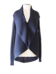 PFL Full knitted open cardigan model Keyla, in a soft alpaca blend, dark blue
