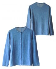 Classic cardigan with button closure, in soft luxurious baby alpaca, color blue.