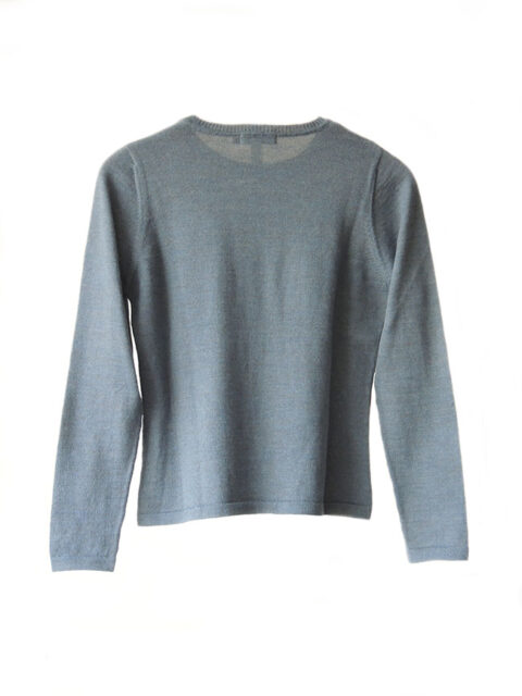 Classic sweaters in solid steel blue, conducted in luxury super soft baby alpaca, with round neck.