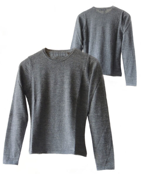 Classic sweaters in solid grey, conducted in luxury super soft baby alpaca, with round neck.