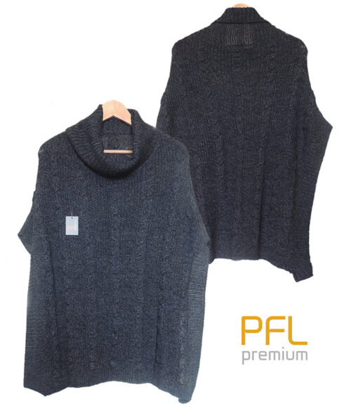 PFL knitted cape dark grey with lapel collar and a classic cable structure