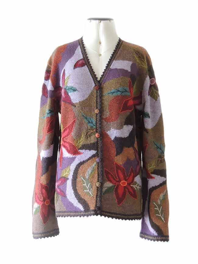 Women cardigans intarsia knitted art in alpaca.