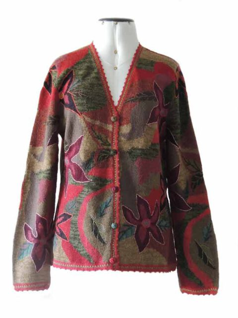 Artisanal knitted Intarsia cardigans with embroiderend and crochet details