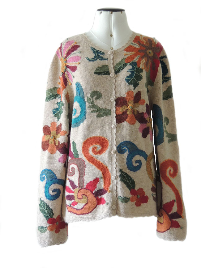 ladies cardigans, intarsia artworks in alpaca