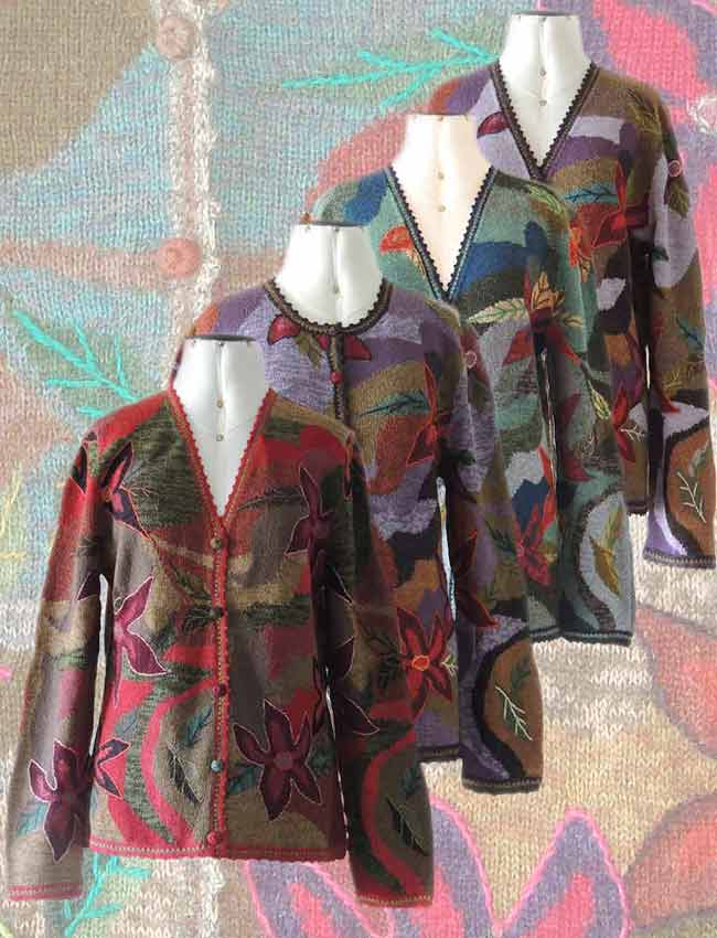 Women cardigans, intarsia knitted art in alpaca wool