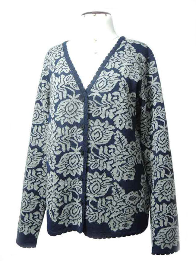PFL knits: Jacquard knitted cardigan with floral pattern,