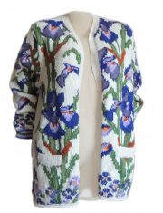 PFL Knits handmade cardigan, intarsia knitted  with flowers on the frontside