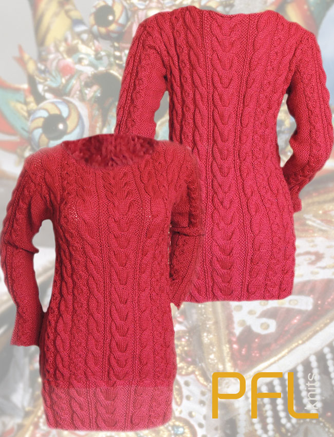 PFL Knits Handmade pullover with crew neckline and cable pattern