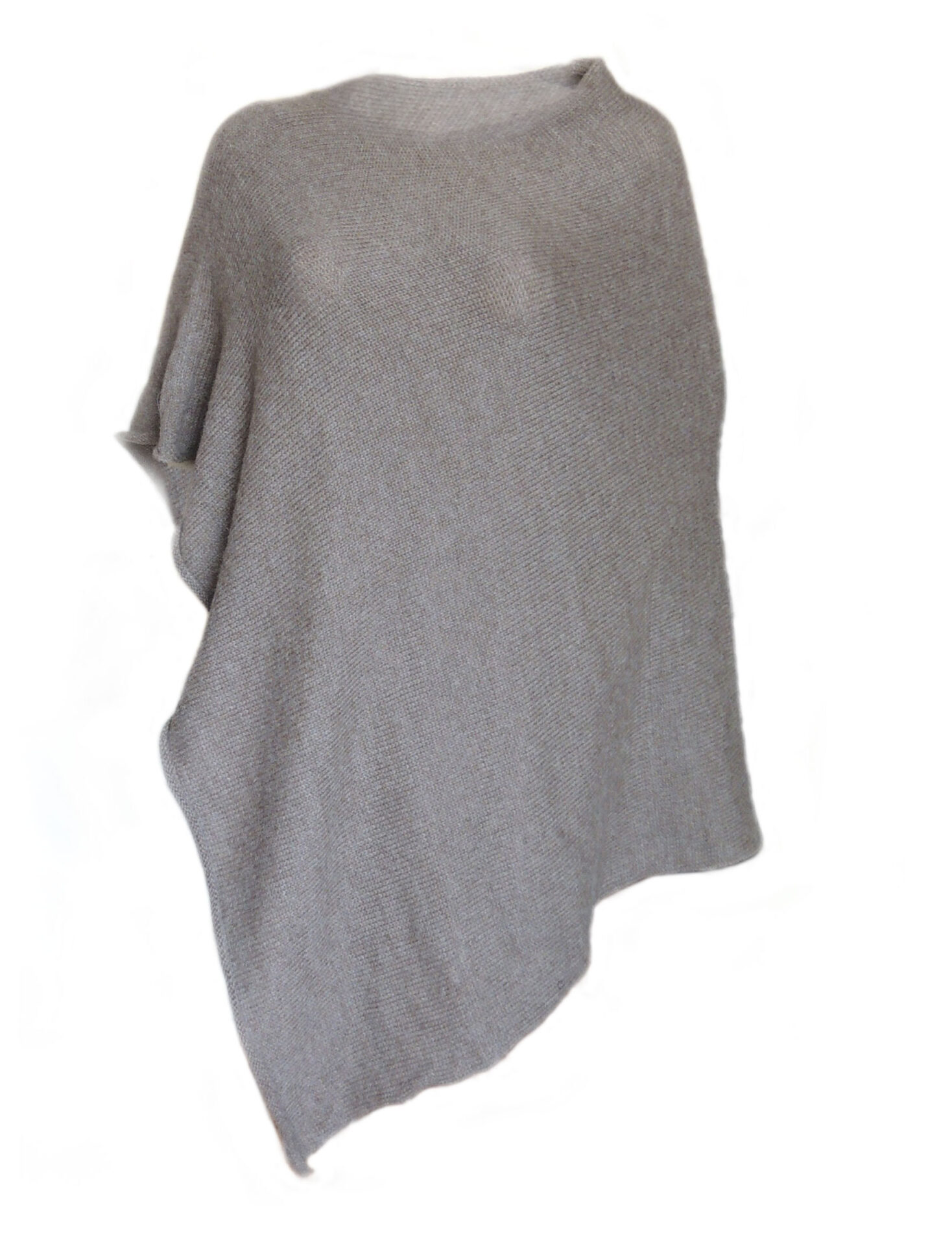 PFL knits, asymmetric poncho with a round neckline in solid color. 100% alpaca