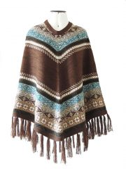 PFL cape of alpaca with fringed and ethnic pattern