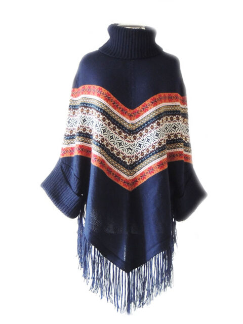 PFL Poncho with turtle neck ,sleeves and fringes